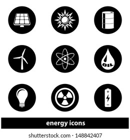 Energy Icon Set. Raster version, vector also available.