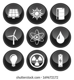 Energy Icons Black Plastic Button Icon Set.  Raster version.