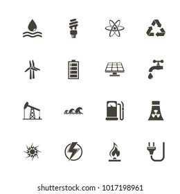 Energy icons. Flat Simple Icon - Gray Illustration on White Background.