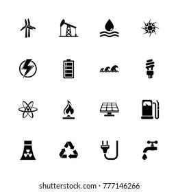 Energy icons. Flat Simple Icon - Black Illustration on White Background.