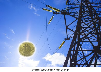 energy for mining cryptocurrency. Power line on blue sky background with clouds and coins of bitcoin is the sun.