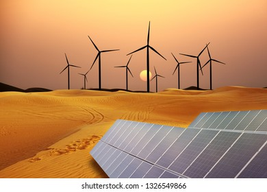 Energy from the nature concept with wind turbines and solar panel in sand desert