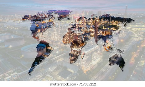 energy power concept : Oil and gas industry - refinery factory - petrochemical plan on world map background