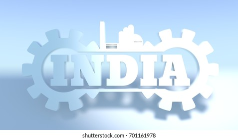 Energy and Power icons. India word decorated by gear. 3D rendering.