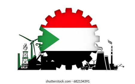 Energy and Power icons set with flag of the Sudan. Sustainable energy generation and heavy industry. 3D rendering.
