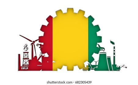 Energy and Power icons set with flag of the Guinea. Sustainable energy generation and heavy industry. 3D rendering.