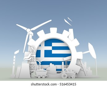 Energy and Power icons set with Greece flag. Sustainable energy generation and heavy industry. 3D rendering. Blue sky backdrop