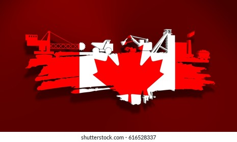 Energy and Power icons set and grunge brush stroke. Coal mining relative image. 3D rendering. Flag of the Canada
