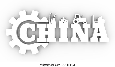 Energy and Power icons. Sustainable energy generation and heavy industry. China word decorated by gear. 3D rendering.