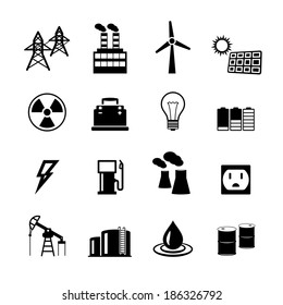 Energy power pictograms collection of light bulb electric battery and fossil fuels isolated  illustration