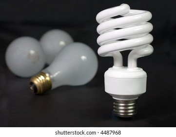 Energy saver compact fluorescent light bulb with inefficient incandescent bulbs in the background