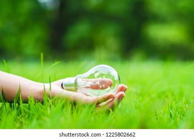 Energy saving concept. Hand holding light bulb on green grass background.