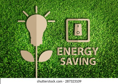 energy saving concept. Paper cut of eco on green grass.