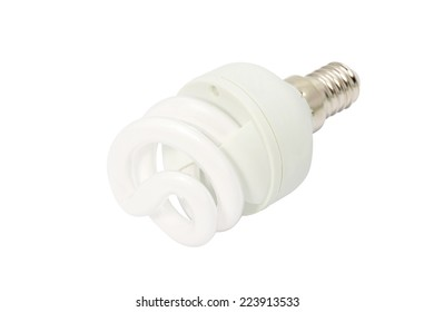 Energy saving fluorescent light bulb Isolated on white background