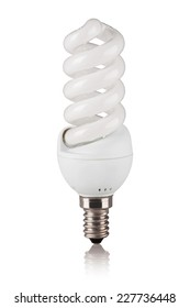 Energy saving fluorescent light bulb isolated on a white bakground