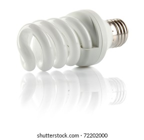 Energy saving fluorescent light bulb, isolated on white background