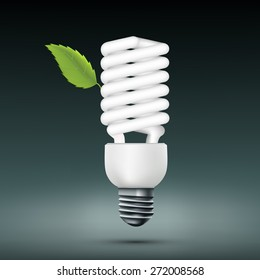 energy saving lamp with green leaf