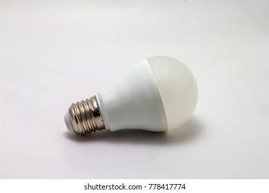 Energy saving LED light buld on white background