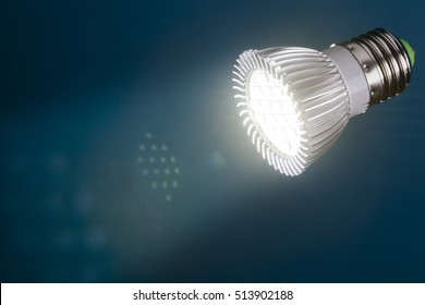 Energy saving  led light with flare and reflections in beam