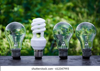 energy saving light bulb innovation concept series blurred background green business green technology