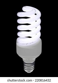 Energy saving light bulb isolated on black