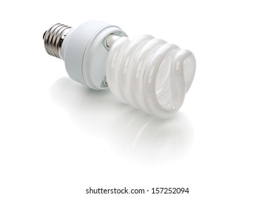 Energy saving light bulb on a white background