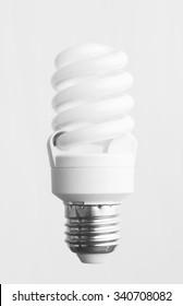 Energy saving light bulb over white background