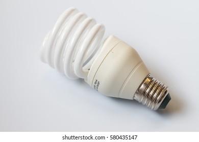 Energy saving light bulbs in gray background