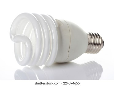 Energy saving light bulbs, on white background