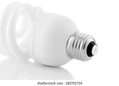 Energy saving lightbulb details isolated on white background