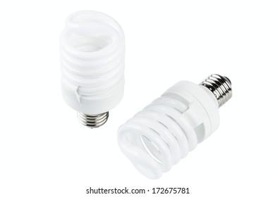 energy smart spiral light bulb isolated on white background