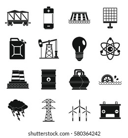 Energy sources icons set. Simple illustration of 16 energy sources  icons for web