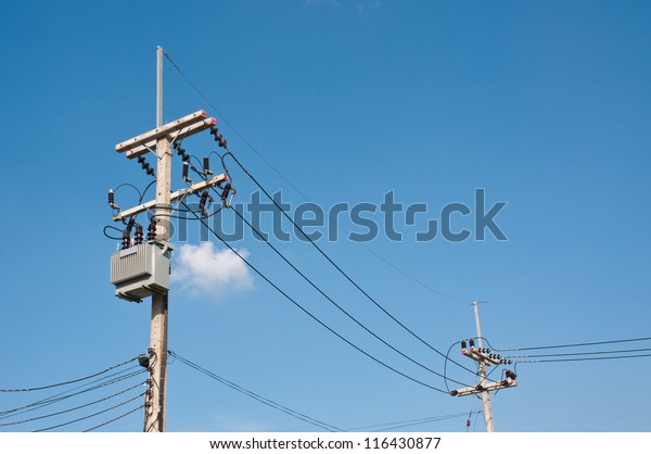 Energy Technology Electrical Post By Road Stock Photo