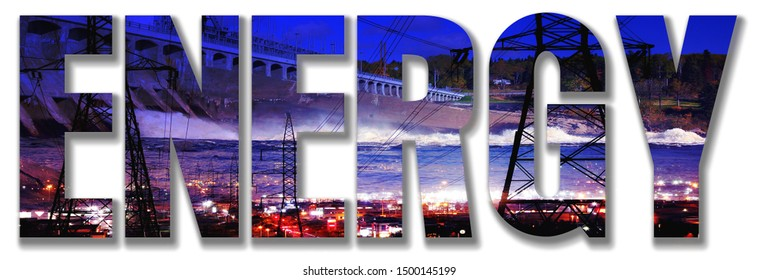 Energy Text mixed with a Electricity Concept Image as Foreground on White Background