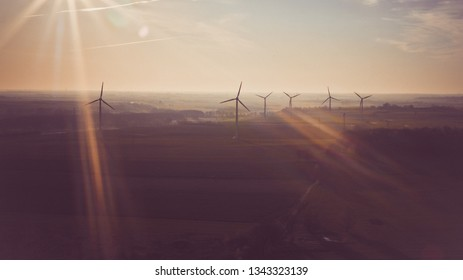 Energy windmills power electricity sunset sunrise nature
