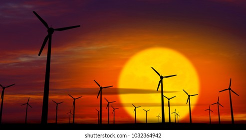 Energy windmills silhouette on sunset background. Concept of ecological power.