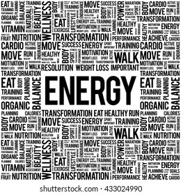 ENERGY word cloud background, health concept