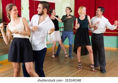 Energy young people dancing active dance at studio