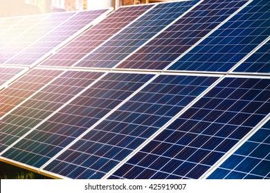 Energy-efficient solar panels producing electricity
