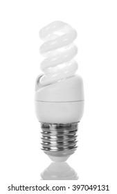 Energy-saving fluorescent lamp isolated on white background.