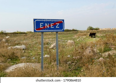 Enez, Turkey. October 15th 2013Sign post for the Turkish border town of Enez, Turkey.