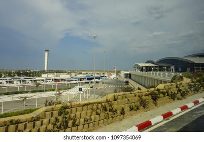 ENFIDHA, TUNISIA - JUNE 14 2014: Airport traffic control tower at Enfidha–Hammamet International Airport in Tunisia