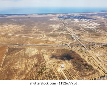 ENFIDHA, TUNISIA - JUNE 26, 2018: An aerial view of dry landscape in which is situated the Enfidha Hammamet International airport, Tunisia, North Africa