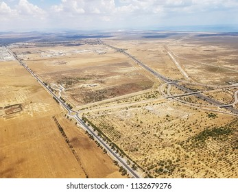 ENFIDHA, TUNISIA - JUNE 26, 2018: An aerial view of the motorway heading south from the Enfidha Hammamet International airport, Tunisia, North Africa