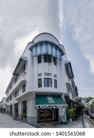 ENG HOON, SINGAPORE -MAY 14, 2019 : Old building on Eng Hoon street, Singapore which are renovated to coffee shop and french style bakery shop named Tiong Bahru Bekery.