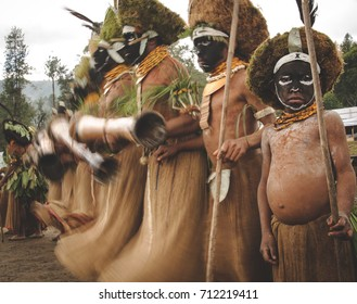 ENGA, PAPUA NEW GUINEA - AUGUST 14, 2011: Swaying dancers at the Enga cultural show in Papua New Guinea's Highlands region