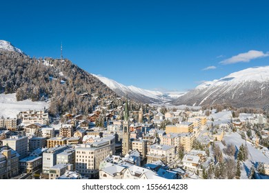 Engadine, village of St.Moritz. Beautiful place in the Swiss Alps - Panoramic view in winter season