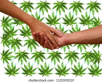Engagement couple with Marijuana background. A couple hold hands with an engagement ring and marijuana leaf background. isolated on white. room for text.