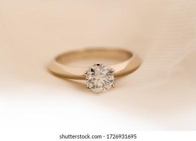 Engagement Diamond Ring on Soft Background