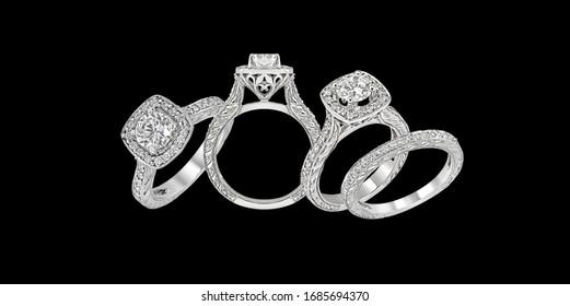 engagement diamond wedding ring group on black